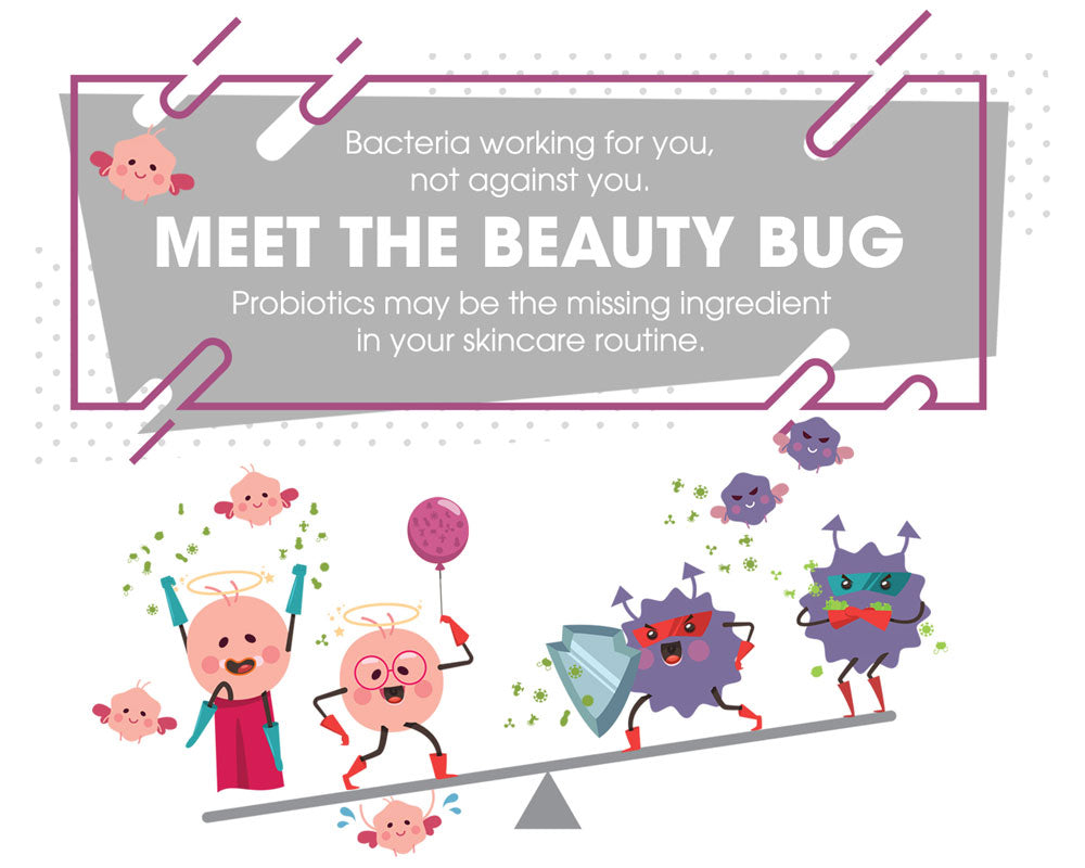 Bacteria working for you, not against you. MEET THE BEAUTY BUG Probiotics may be the missing ingredient in your skincare routine.