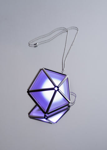 WXYZ ELECTROCOUTURE ELEMENTS PYRAMID LIGHT UP NECKLACE PENTAGON