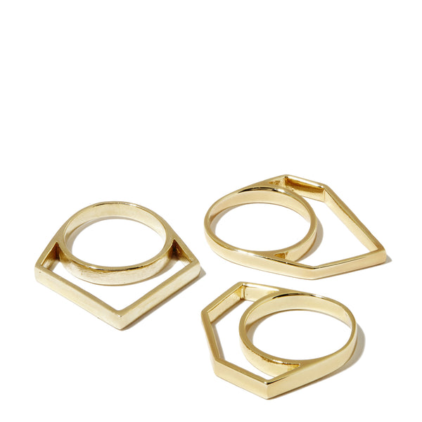 Thin Hollow Stacker Ring - Set of 3