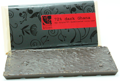 Tablet: 72% Ghana Wrapped w Cocoa Nibs