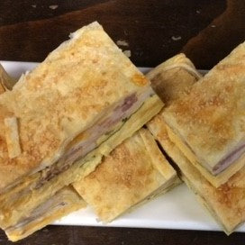 CAFE: SAVOURY: Bacon & Egg Pie, just like the old days, a large slice of pie