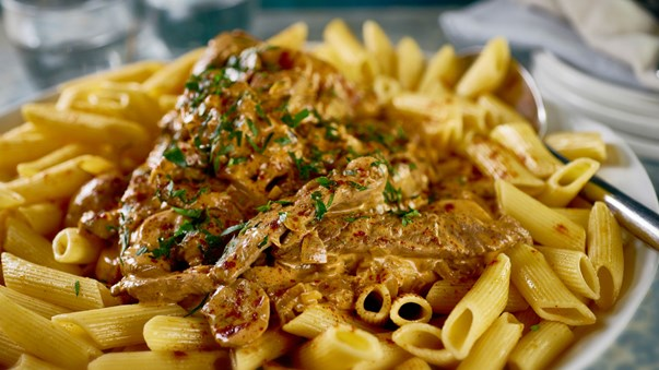 MEAL: MAIN: Beef Stroganoff, seared beef strips, with sour cream mushroom gravy, with penne pasta.