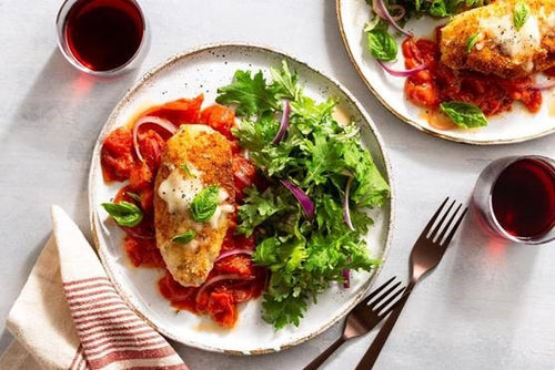MEAL: MAIN: Chicken Parmigiana, served with Mediterranean roast veges, roast potatoes