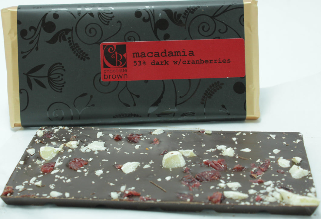 Tablet: Macadamia Cranberry 53% DARK Wrapped