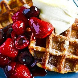 CAFE: MEAL: Waffle with fruit compote, cream, maple syrup.  Add bacon
