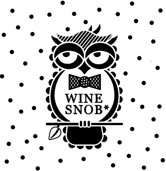 The Wine Snob* owl logo surrounded by black polka dots.