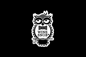 The Wine Snob* owl logo, which is an owl that is perched on a stick with a leaf, slightly rolling its eyes, and wearing a black bowtie with white polka dots.