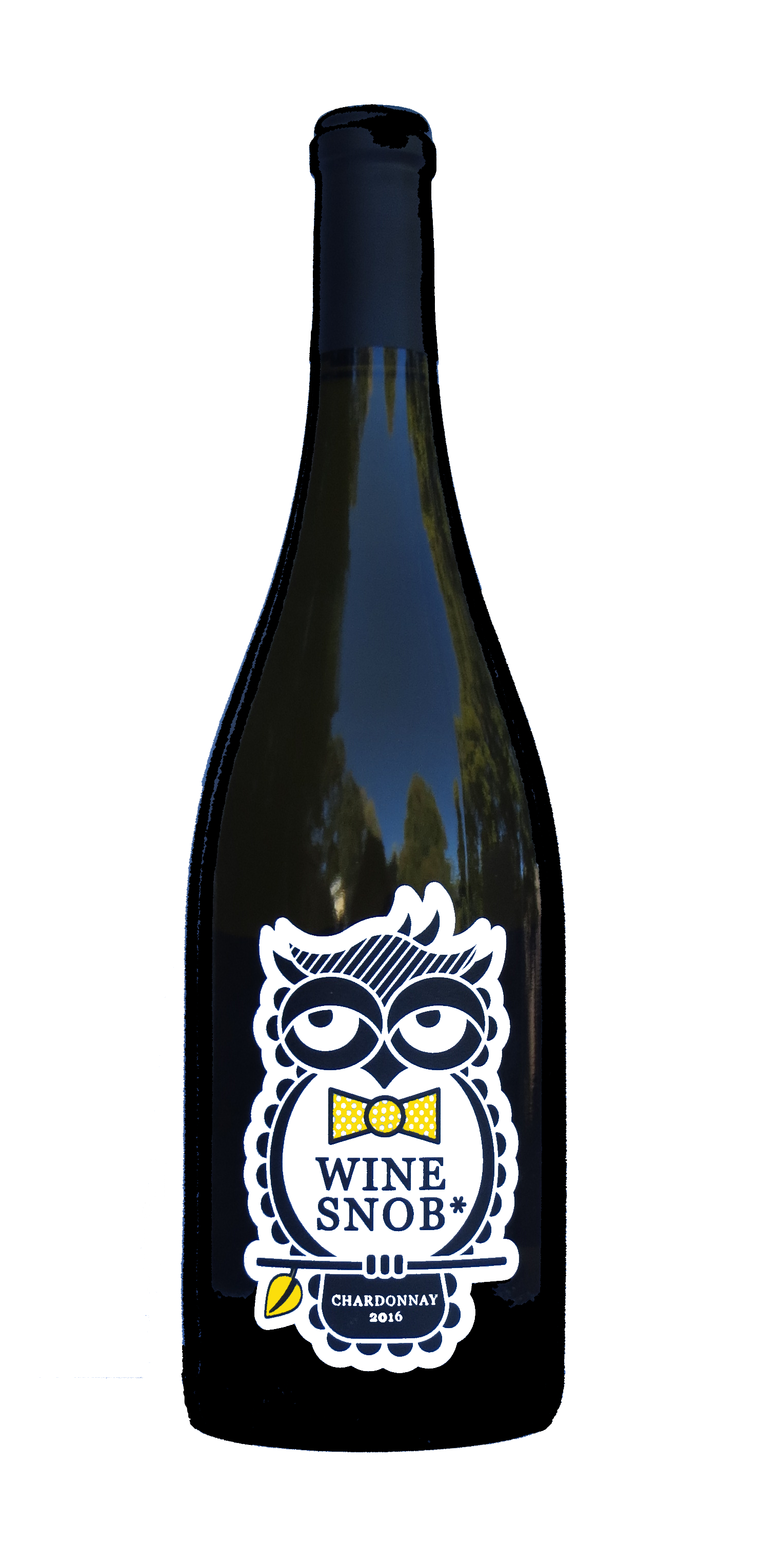 Burgundy-style bottle with the Wine Snob* 2016 Chardonnay label showing an owl perched on a stick with a leaf, slightly rolling its eyes, and wearing a yellow bowtie with white polka dots.
