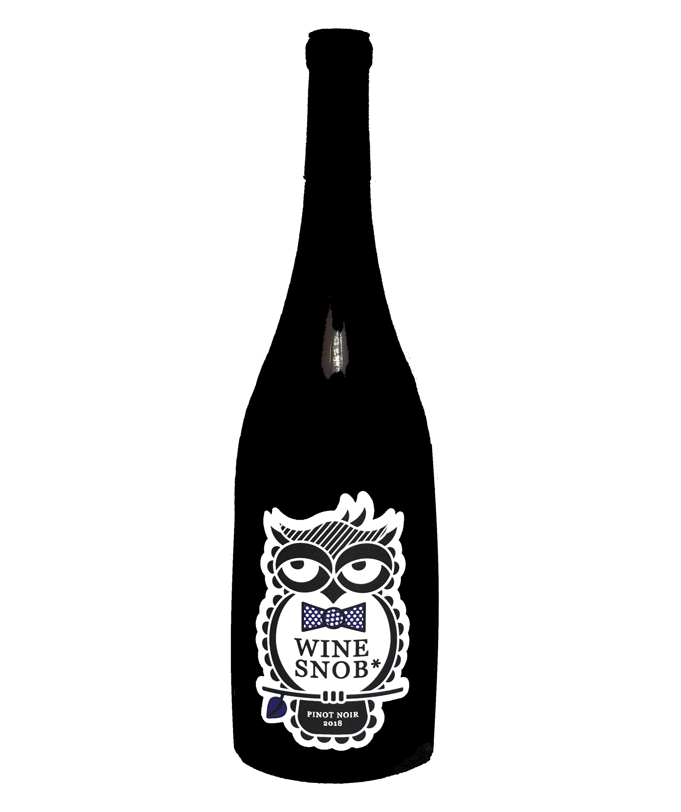 Burgundy-style bottle with the Wine Snob* 2018 Pinot Noir label showing an owl perched on a stick with a leaf, slightly rolling its eyes, and wearing an indigo bowtie with white polka dots.