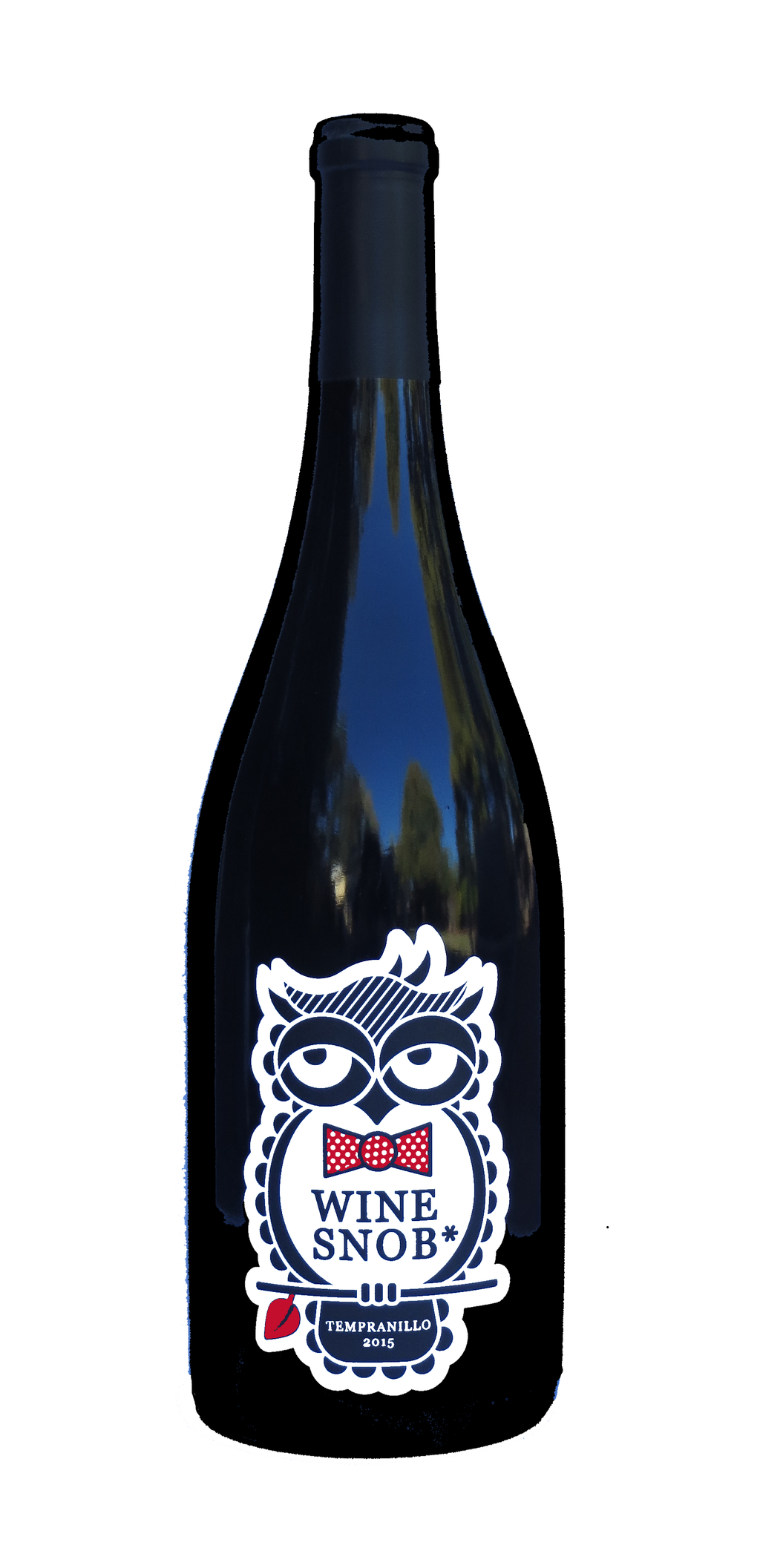 Burgundy-style bottle with the Wine Snob* 2015 Tempranillo label showing an owl perched on a stick with a leaf, slightly rolling its eyes, and wearing a red bowtie with white polka dots.