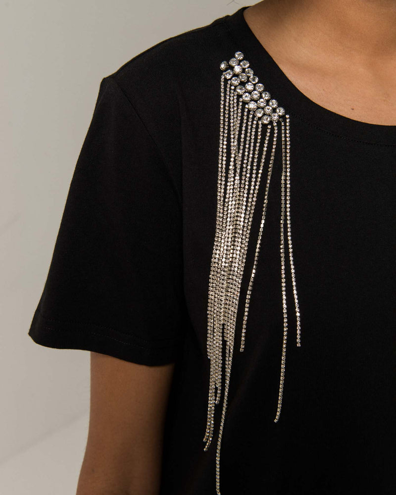 Vestito t-shirt con frange in strass