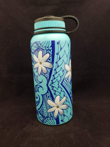 32oz Water Bottle Insulated Double Wall UV Print Tiare Poly