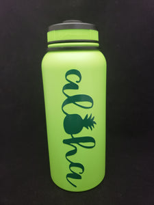 32oz Water Bottle Insulated Double Wall UV Print Hawaii Aloha Pineapple