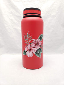 32oz Water Bottle Insulated Double Wall UV Print Hawaii Dobby Print Hibiscus