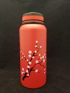 32oz Water Bottle Insulated Double Wall UV Print Plum Blossum