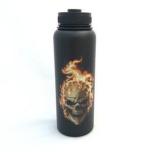 40oz Water Bottle Insulated Double Wall UV Print Flaming Skull