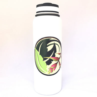 40oz. Water Bottle Insulated Double Wall UV Print Heliconia
