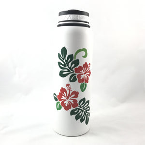 40oz. Water Bottle Insulated Double Wall UV Print Hibiscus Monsterra (Red & Green)