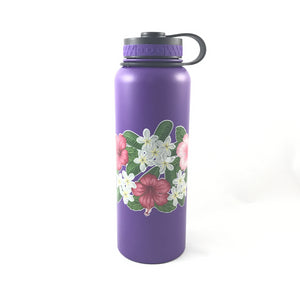40oz. Water Bottle Insulated Double Wall UV Print Hibiscus Plumeria