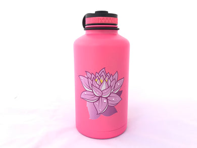 62oz. Water Bottle Insulated Double Wall UV Print Lotus Flower