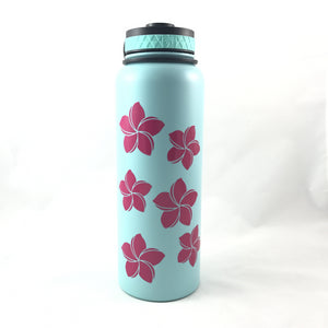 40oz Water Bottle Insulated Double Wall UV Print Plumeria