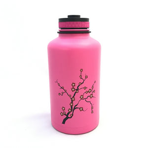 62oz. Water Bottle Insulated Double Wall UV Print Plum Blossom