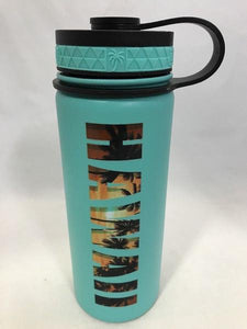 18oz Water Bottle Insulated Double Wall UV Print Tropical HAWAII