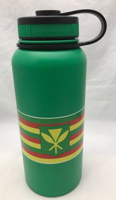 32oz Water Bottle Insulated Double Wall UV Print Hawaii Kanaka Maoli Flag Green NEW