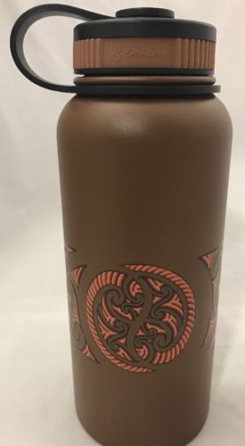 32oz Water Bottle Insulated Double Wall UV Print Maori Band Espresso/Brown