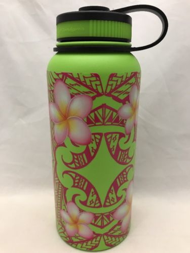32oz Water Bottle Insulated Double Wall UV Print Hawaii Plumeria w/Polywrap NEW