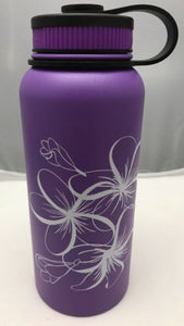 32oz Water Bottle Insulated Double Wall UV Print Plumeria Outline on Purple