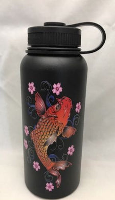 32oz Water Bottle Insulated Double Wall UV Print Hawaii Koi/Plum Blossoms Black
