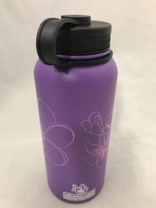 32oz Water Bottle Insulated Double Wall UV Print Plumeria Outline on Purple Wrap