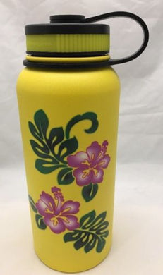 32oz Water Bottle Insulated Double Wall UV Print Hawaiian Hibiscus/Monstera Leaf