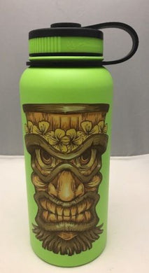 32oz Water Bottle Insulated Double Wall UV Print Hawaiian Hibiscus Tiki Lime New