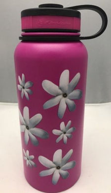 32oz Water Bottle Insulated Double Wall UV Print Hawaii Tahitian Gardenia NEW