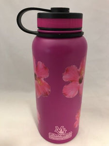 32oz Water Bottle Insulated Double Wall UV Print Magenta Hibiscus Hawaiian NEW