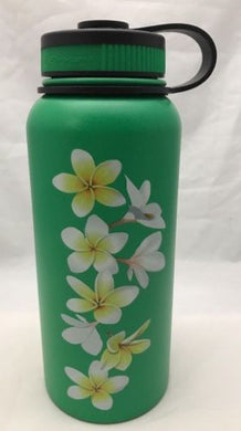32oz Water Bottle Insulated Double Wall UV Print Hawaii White Yellow Plumeria