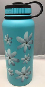 32oz Water Bottle Insulated Double Wall UV Print Hawaii Tahitian Gardenia