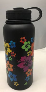 32oz Water Bottle Insulated Double Wall UV Print Hibiscus Wrap on Black NEW