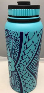 32oz Water Bottle Insulated Double Wall UV Print Polynesian Wrap - Aqua Blue NEW
