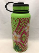 Load image into Gallery viewer, 32oz Water Bottle Insulated Double Wall UV Print Hawaii Plumeria w/Polywrap NEW