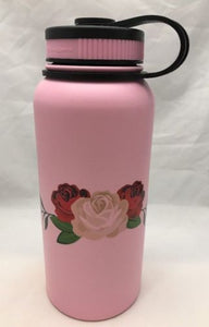 32oz Water Bottle Insulated Double Wall UV Print Three Rose Design on Pink NEW