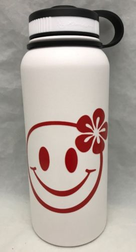 32oz Water Bottle Insulated Double Wall UV Print Hawaii Happy Face Emoji NEW