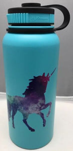 32oz Water Bottle Insulated Double Wall UV Print Unicorn on Tiffany Blue NEW