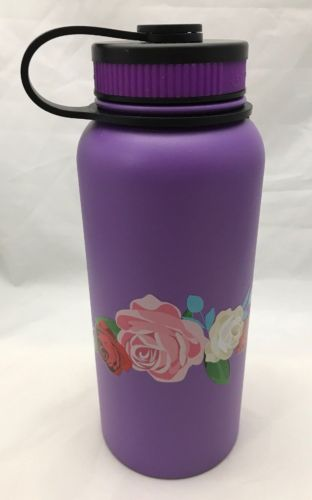 32oz Water Bottle Insulated Double Wall UV Print Four Roses Made In Hawaii NEW
