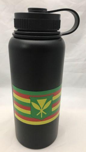 32oz Water Bottle Insulated Double Wall UV Print Hawaii Kanaka Maoli Flag