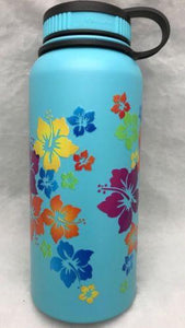 32oz Water Bottle Insulated Double Wall UV Print Rainbow Hibiscus Wrap