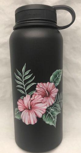 32oz Water Bottle Insulated Double Wall UV Print Hawaiian Hibiscus