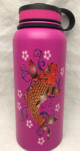 32oz Water Bottle Insulated Double Wall UV Print Hawaii Koi/Plum Blossoms
